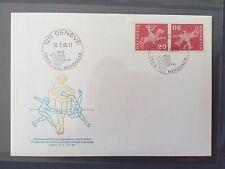 SWITZERLAND FDC 1968 HELVETIA 26.2.1968 Championnat du monde de patinage Genéve