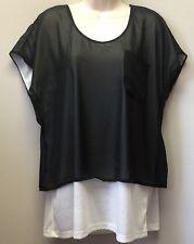 New Fashion Bug Women's Sz L Black White Chiffon Layered Look Short Sleeve Top