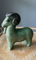 Vintage Bitossi Style Horse, Green Ceramic Gold Glaze, MCM. Boho Shelf Decor