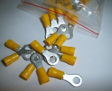 "100 Wire Ring Terminals Vinyl Yellow 12-10 AWG 1/4"" Car Audio Crimp Connectors"