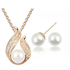 Bridal White Pearls & Gold Tone Wave Jewellery Set Earrings & Necklace S247