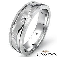 Eternity Wedding Band Round Bezel Diamond Mens Solid Ring 14k White Gold 0.13Ct