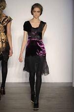 Proenza Schouler black chiffon violet plush Dress NEW 8