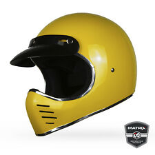 Full Face Retro Motorcycle helmet  Matrix Motto YELLOW  Vintage Bell Style