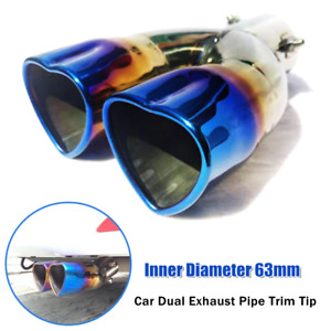 63mm Universal Car Dual Barrel Exhaust Pipe Trim Tip Tail Muffler Stainless S.S