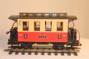 LGB G-Gauge Passenger Coach, Light Kit, Red-Beige, Made in Germany Vintage, 3011