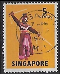 1968 - 1970 Singapore 5c Sword Dance Stamp W41 Perf 14 Good Used #SG103