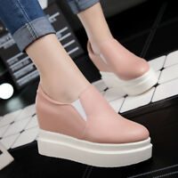 Women Chic PU Leather High Heels Round Toe Solid Color Large Size Loafers Shoes