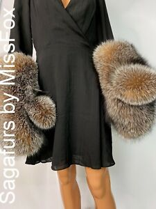 Saga amber fox full fur huge mittens wool lining