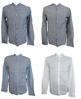 Herren Leinenhemd Freizeithemd Langarm Grau Blau Weiß Gr. S M L XL XXL