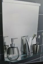 CHROME METAL FRAME BATHROOM WALL MIRROR WITH GLASS SHELF BATHROOM SHELF NEW