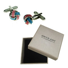 Mens Keltic Knot Pink & Blue Cufflinks & Gift Box By Onyx Art