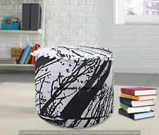 Black & White Locust Tree Ottomans Cover Indian Footstools Mandala Tapestry Case