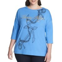 TOMMY HILFIGER NEW Women's Blue Metallic Cotton Boat-neck Casual Shirt Top TEDO