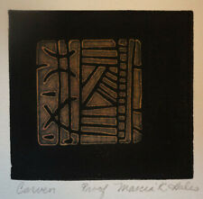 """Carven"" Linocut monoprint  Artist Abstract Non-Representational"