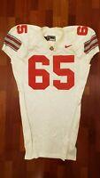 #65 White Game Worn Ohio State Buckeyes Football Jersey - Size 54 - Nike Team