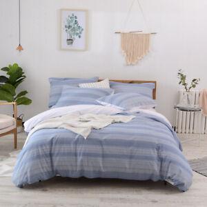 Hibertex 100% Cotton Stripe Quilt Cover Set bedding Queen King Doona Cover Set