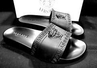 New Versace Sandals Slides Medusa Palazzo Black Size 12 Flip Flops