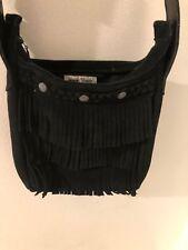 Minnetonka Genuine Leather Black Shoulder Bag Crossbody With Fringe