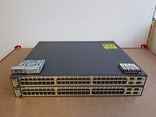 2 X CISCO WS-C3750-48PS-S POE Switch CCNA CCNP CCIE LAB WITH 4 X GLC-SX-MM