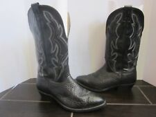 NOCONA Pebbled Black Leather Western Cowboy Ranch Boots 8 EE extra wide (A01)