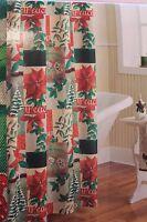 Christmas Traditions Fabric Shower Curtain Holiday Bath Decor