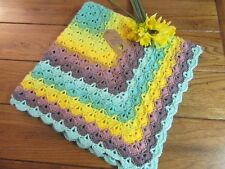 Hand crocheted multi color baby blanket   -   Free SHIPPING