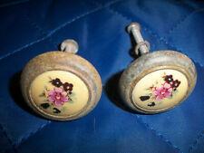 Estate Sale - 2 pcs.Vintage Drawer Pulls / Porcelain Flower