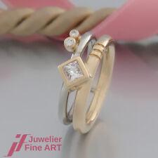 SCHNÄPPCHEN: moderner Diamant-RING mit 3 Diamanten ges. 0,26ct - 18K/750 Bicolor