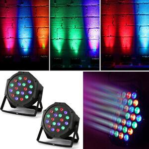 2X 18LED RGB Stage Lighting Par Can Uplighter DJ Disco Band Party Light DMX-512