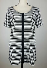 Eloquii Womens Blouse Top 18/20 Striped Scoop 1/2 Sleeve Black & White Z7P