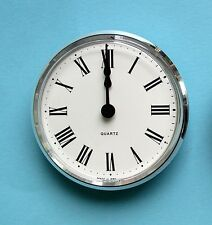 MEGA-QUARTZ 100mm silver BEZEL QUARTZ CLOCK insert white roman dial