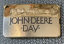 """1988 Vintage John Deere Day belt buckle Tractors Equipment 2""""x3.25"""""""