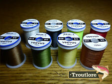 8 x SPOOLS 8/0 VEEVUS THREAD - NEW FLY TYING SUPPLIES & MATERIALS