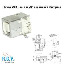 Connettore USB presa femmina tipo B 90° da circuito stampato a saldare su PCB