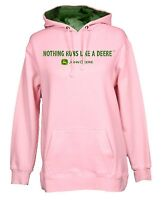 NEW John Deere Pink Nothing Runs Like a Deere Hoodie Sweatshirt L XL 2X