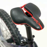 Velo Angel Black / Red Kids Bicycle PU Leather Saddle Jr Junior Bike Gel Seat
