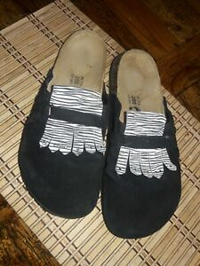 BETULA by BIRKENSTOCK Alexis Black Suede Leather Shoes Mules Sz 9 GREAT COND