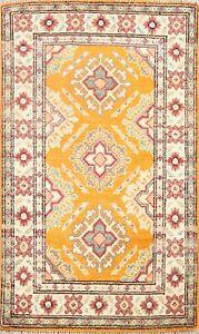 Vegetable Dye Super Kazak Oriental GOLD/ IVORY Area Rug Hand-knotted 2x3 Carpet
