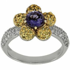Flower Engagement Ring Iolite Sapphires & Pave Diamonds 14K Size Able White Gold