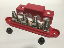 7 Point (3 Small 4 Large 3/8) Power Distribution Block Red DC Bus Bar Insulated