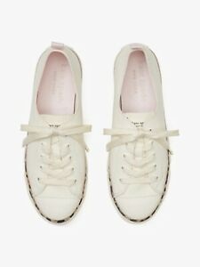 Kate Spade Kaia Canvas Sneakers, White With Leopard Print Lining, Size 8.5B