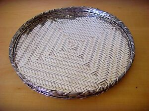 New Display IN Shop - Tray Round Of Metal Silver Braided