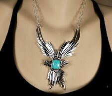 Panel Sterling & Turquoise Necklace Old Store Stock Navajo Hallmarked Chain