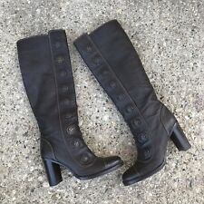 Dolce Gabbana Boots 36.5 Tall Knee High Buttons Brown Leather NWOB Non Slip Grip