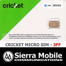 CRICKET WIRELESS MICRO SIM Card 3FF • GSM 4GLTE • AT&T Network MVNO • NEW