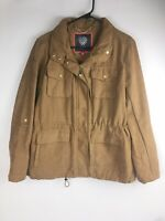 Vince Camuto Tan Caramel Full Zip Polyester Jacket Coat Sz L, Faux Suede