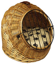 Wicker Pet Pod - Woven Cat Bed & Carrier Thick Cushion Travel Beds Handle & Door
