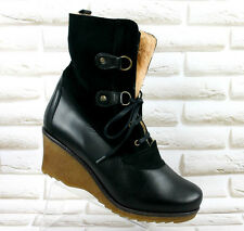 PIER ONE Leather Wedge Shoes Heeled Ankle Boots Lace Up Black Size 7.5 UK 41 EU