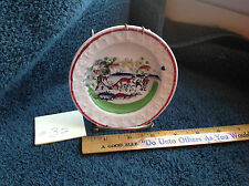 Staffordshire Alphabet ABC Plate 2 men and horses plowing, large farmhouse